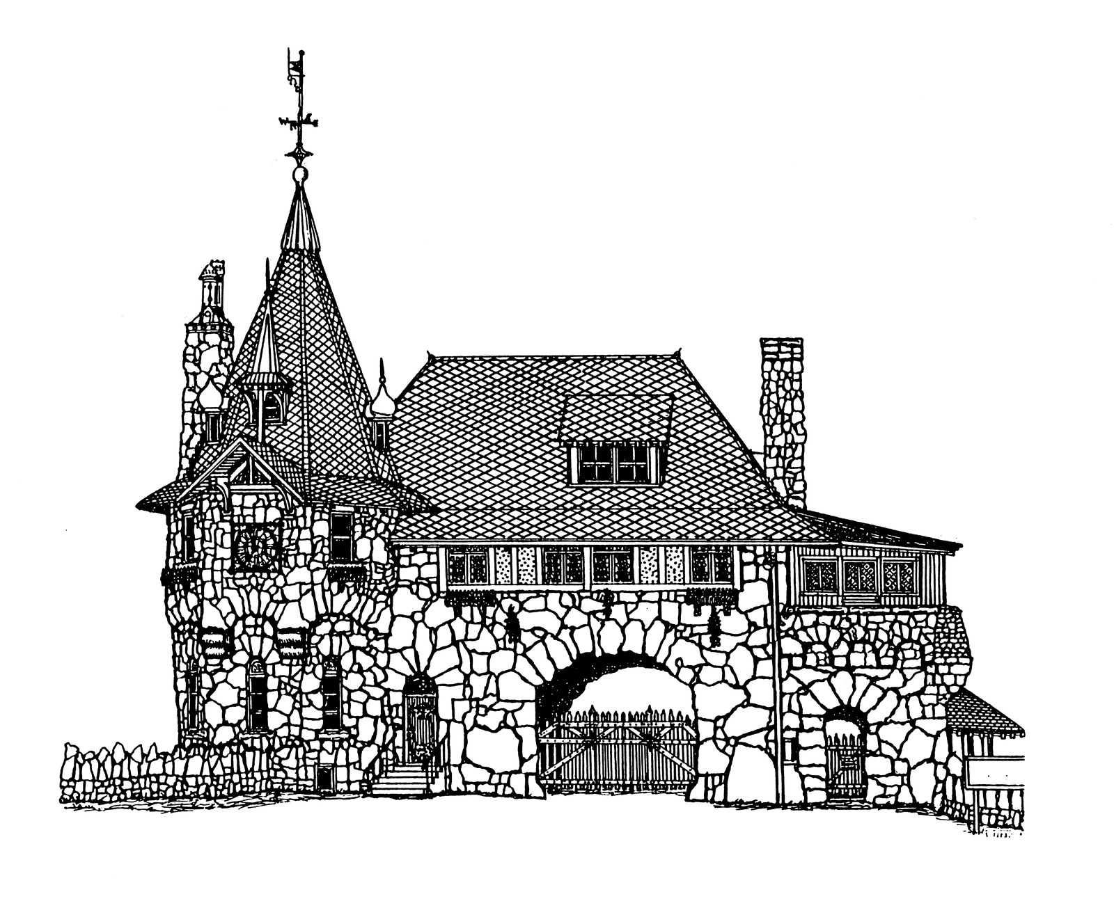 Church Line Drawing Gatehouse Line Drawing