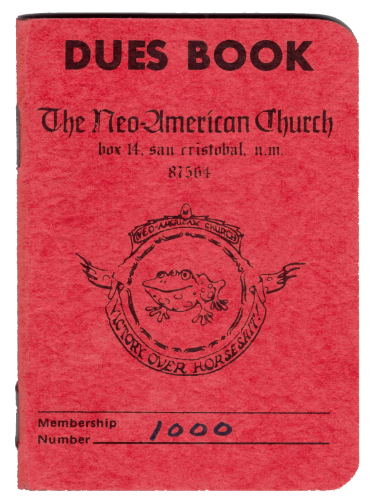 Dues book, front cover